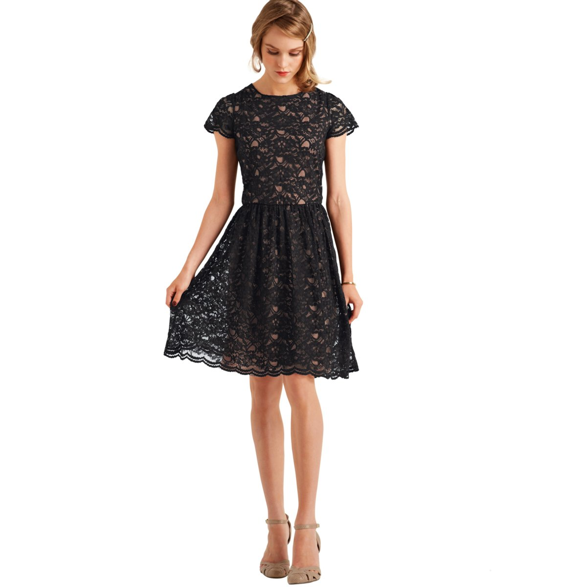 La Redoute - Short-Sleeved Lace Dress with Elasticated Waist