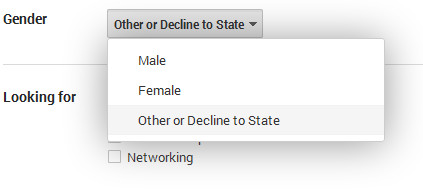 Google+ gender options