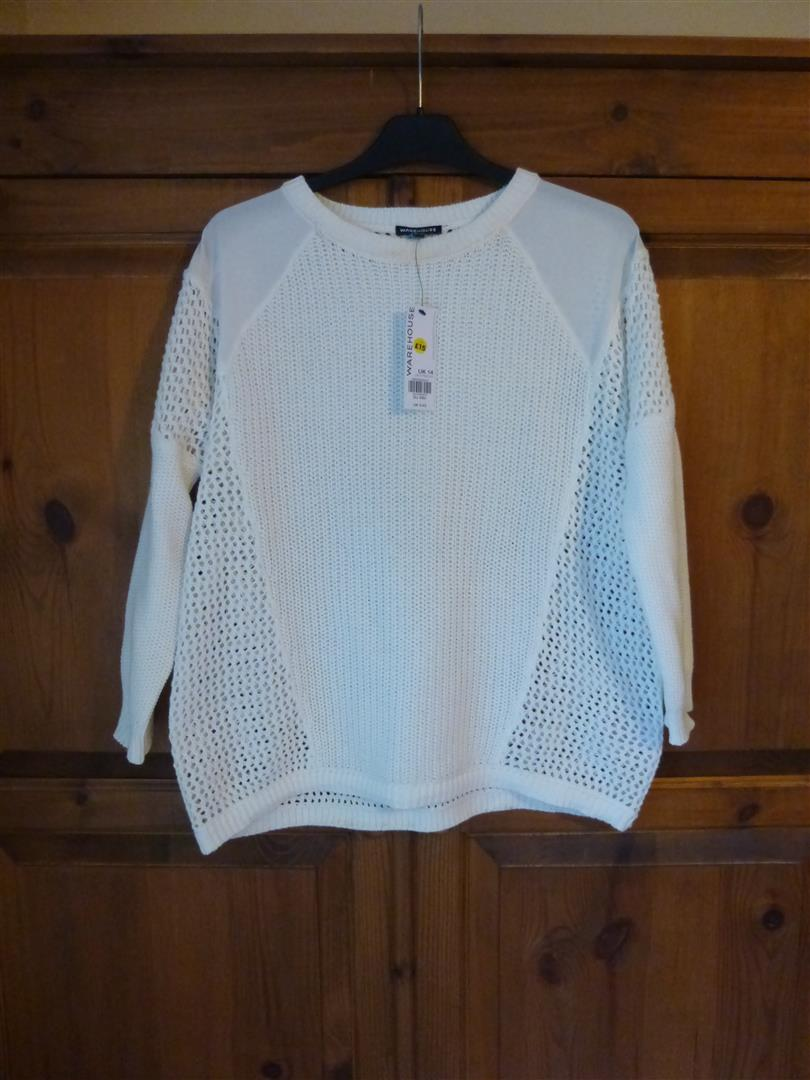 """Woven Shoulder Stitch Block Jumper"" by Warehouse"