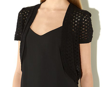 Short Sleeve Pointelle Knit Shrug