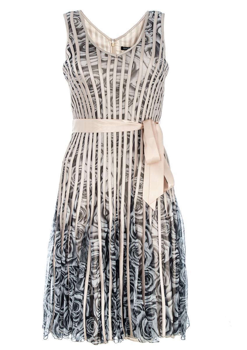 'Gold & Grey Mesh Flower Print Dress' by Quiz