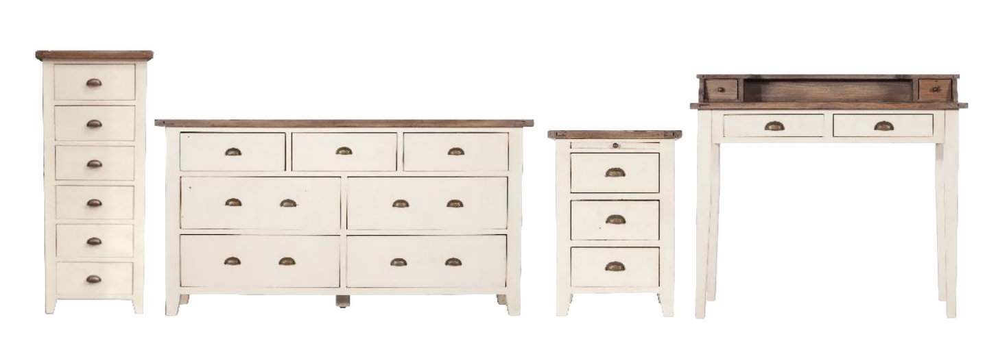 Claremont tall chest, wide chest, bedside cabinet, and table