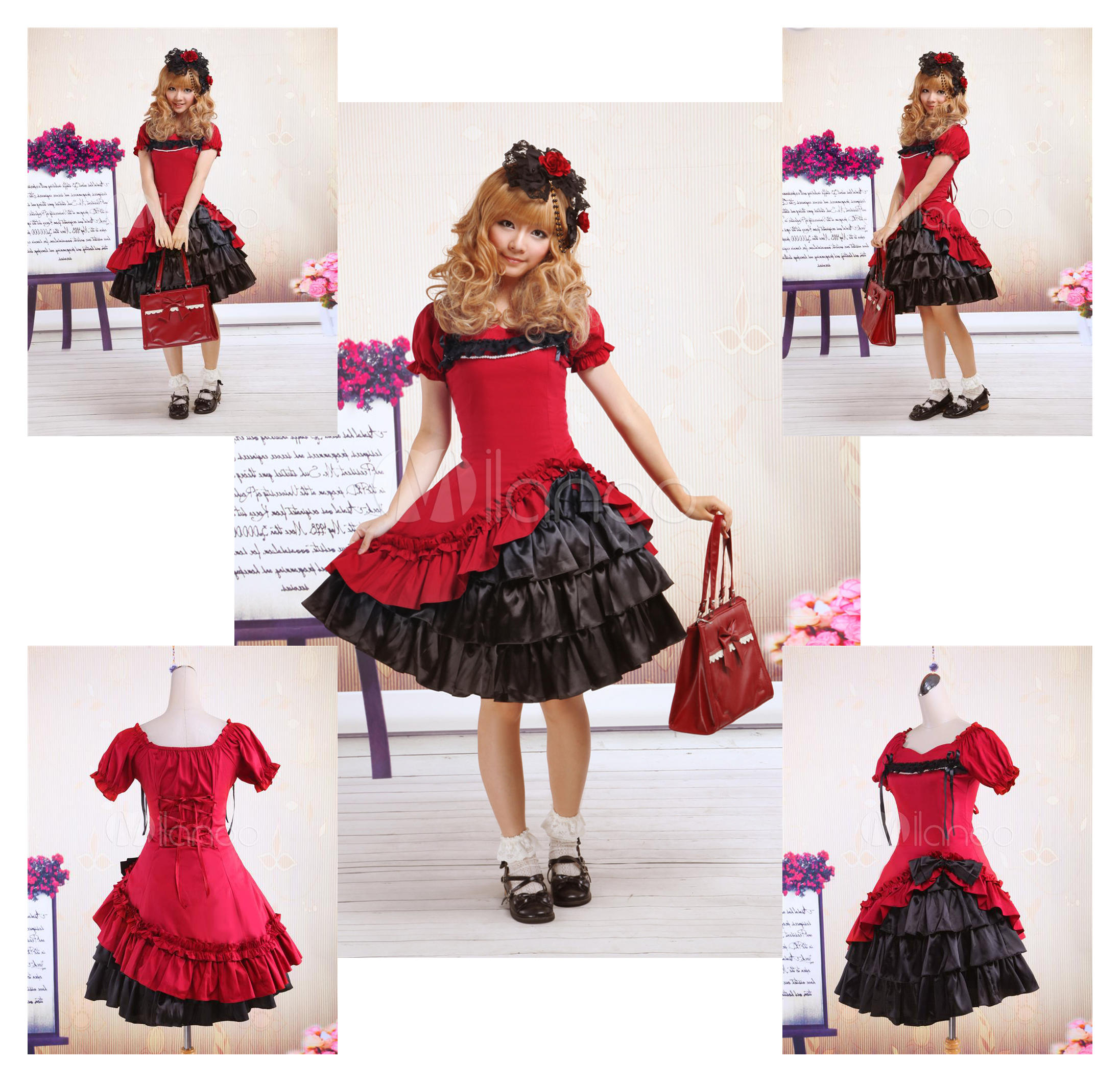 Dark Red And Black Cotton Gothic Lolita Dress