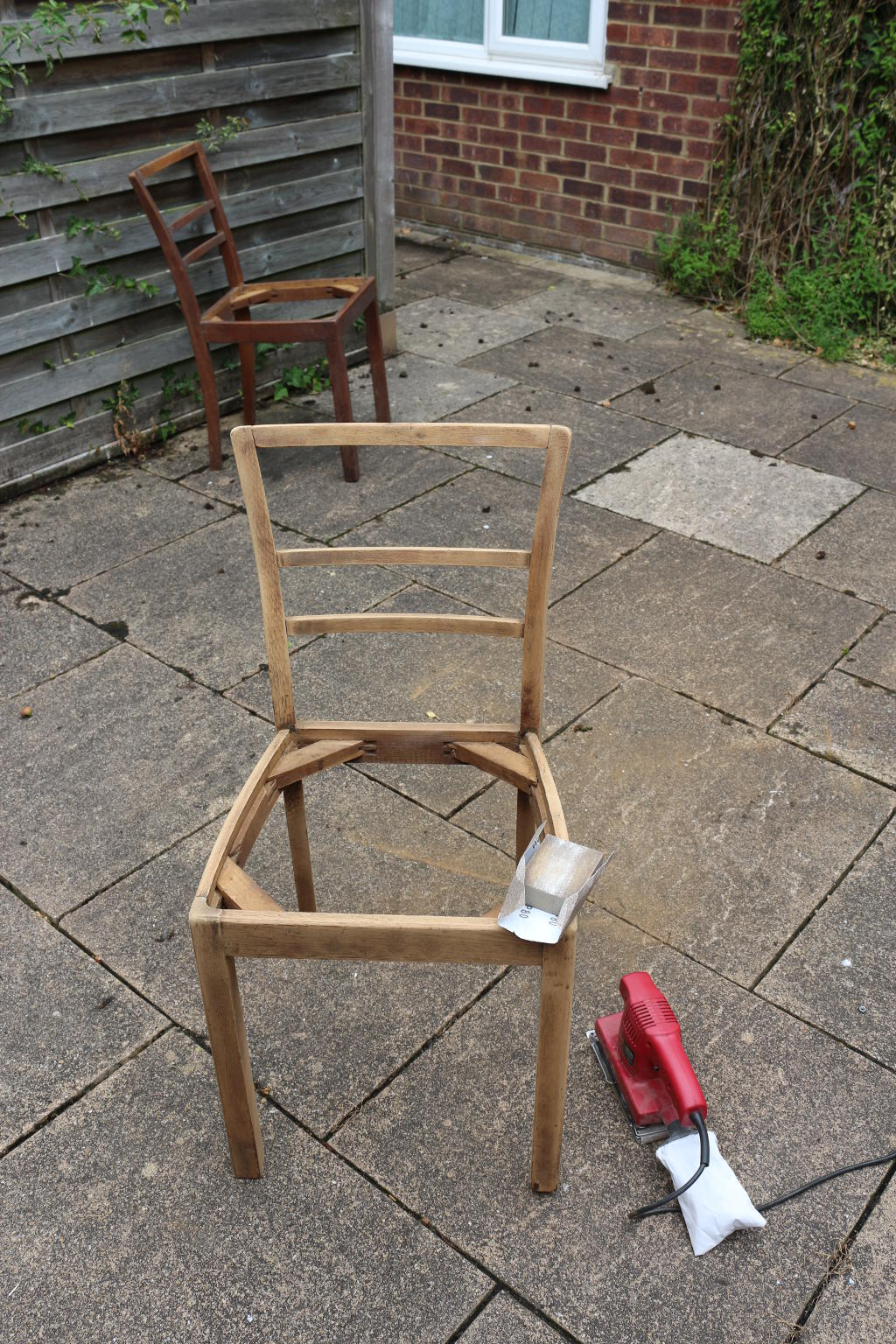 Sanding the chair