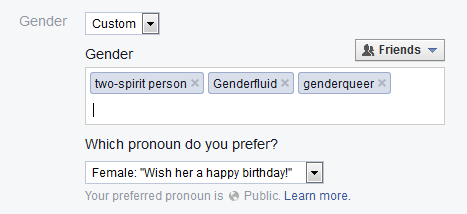 Facebook's custom gender options