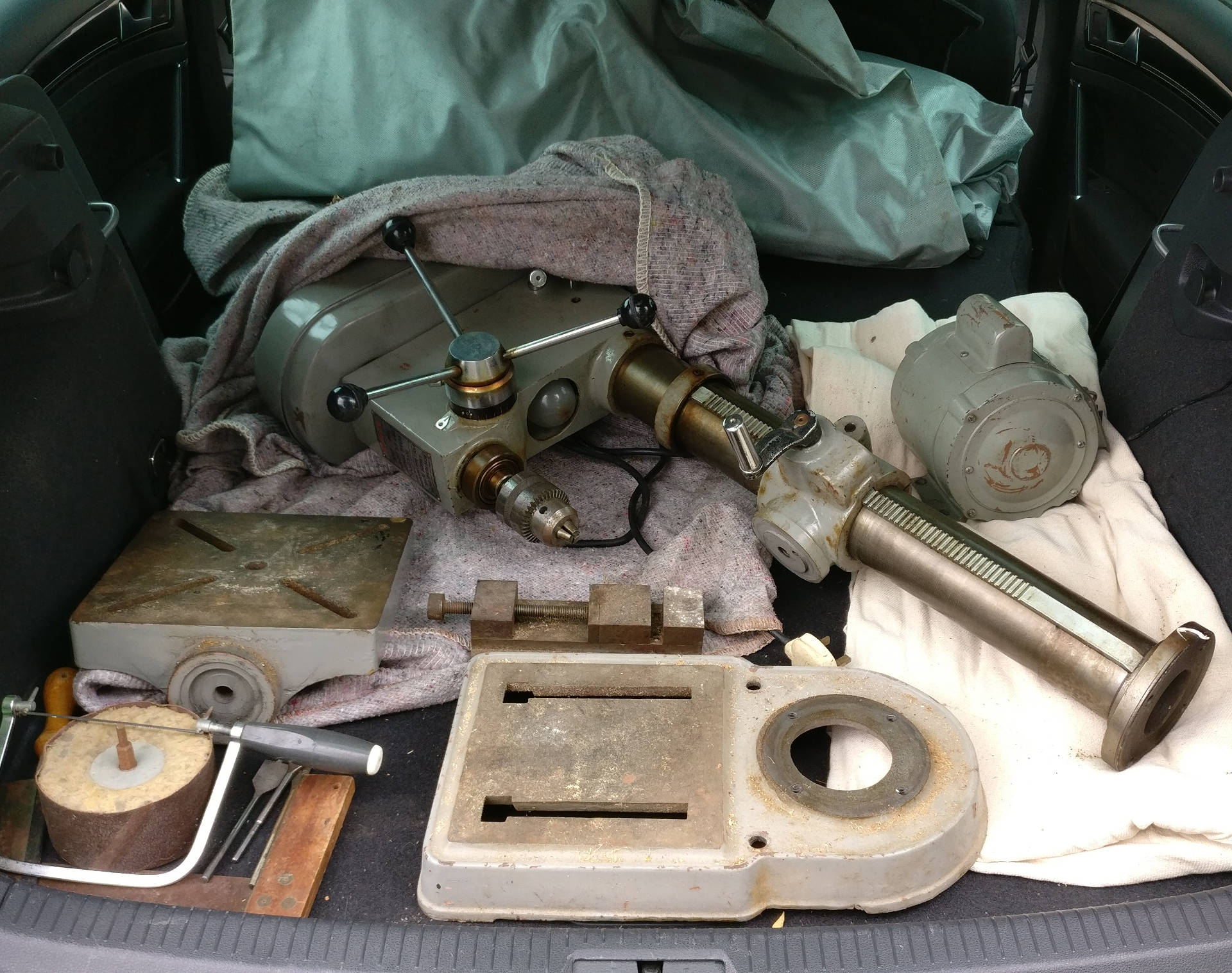Warco drill, disassembled