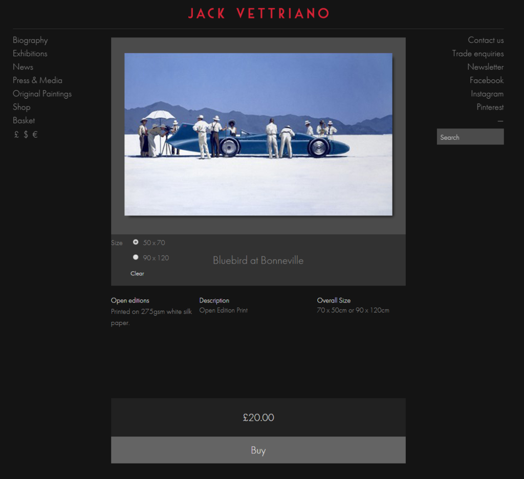 """Bluebird at Bonneville"" by Jack Vettriano"
