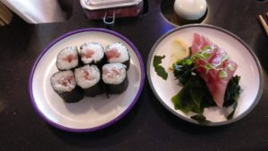 Tuna maki and tuna sashimi